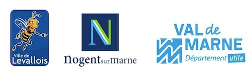 Logos des villes de Levallois et de Nogent-sur-Marne ainsi que du Conseil Départemental du Val-de-Marne subventionnant le Capriccio Français